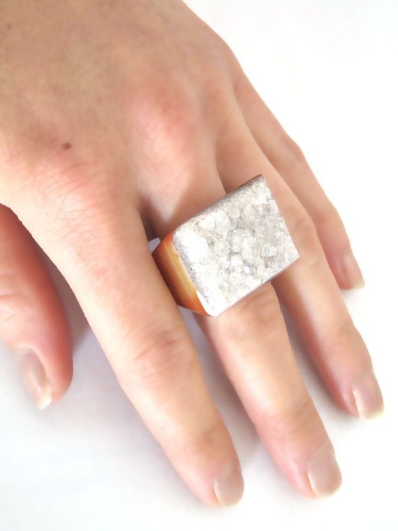 Hyperclash Solid Druzy Agate Rock Ring 8 White Brown By