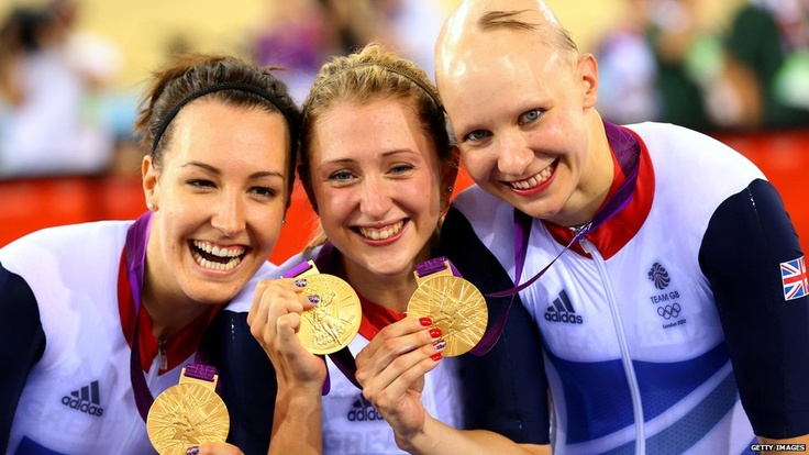 Cyclists Dani King, Laura Trott, and Joanna Rowsell