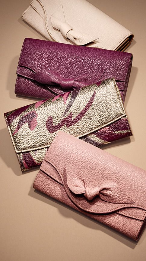 Burberry ~ Women's wallets from the festive gift collection in shades of Elderberry, Gold and Blush. #beautyinthebag #BAGS #designer