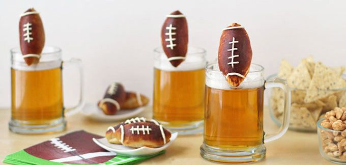 Beer Mug Cheese Stuffed Football Pretzels
