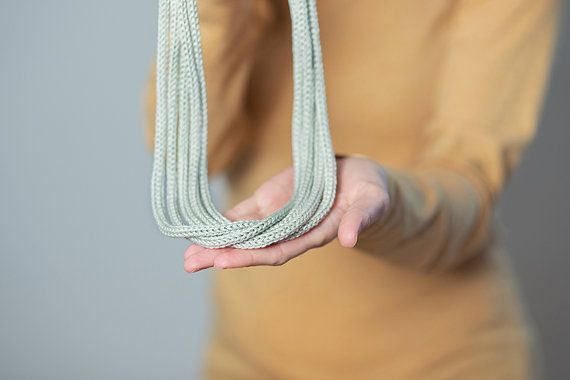 Knitted necklace knit jewellery grey chain necklace by Strickzeit