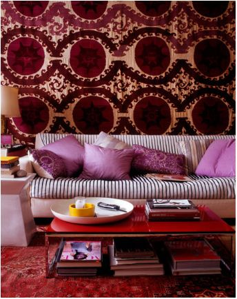 pink, red and purple - living room