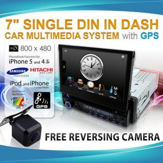 "7"" SINGLE 1 DIN LCD IN DASH CAR GPS DVD DiVX IPOD STEREO MULTIMEDIA PLAYER BT"