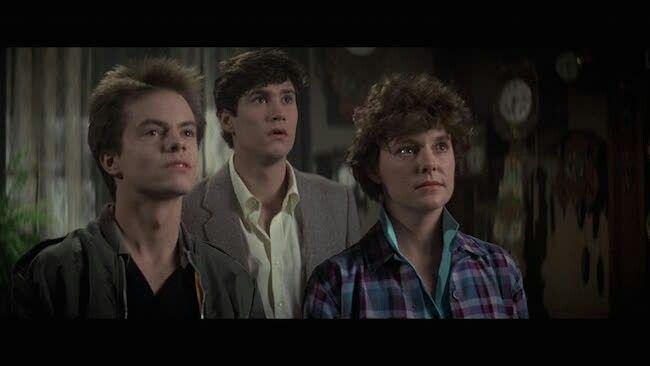 Stephen Geoffreys, William Ragsdale and Amanda Bearse in the original FRIGHT NIGHT (1985)