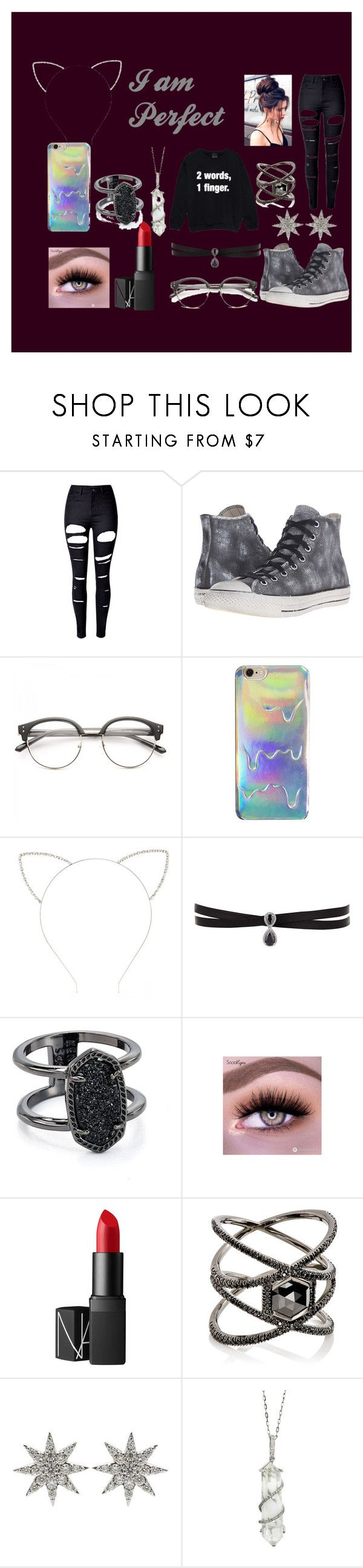 """I am Perfect"" by x-emily-herondale-x ❤ liked on Polyvore featuring WithChic, Converse, Forever 21, Fallon, Kendra Scott, NARS Cosmetics, Eva Fehren, Bee Goddess and Sharon Khazzam"