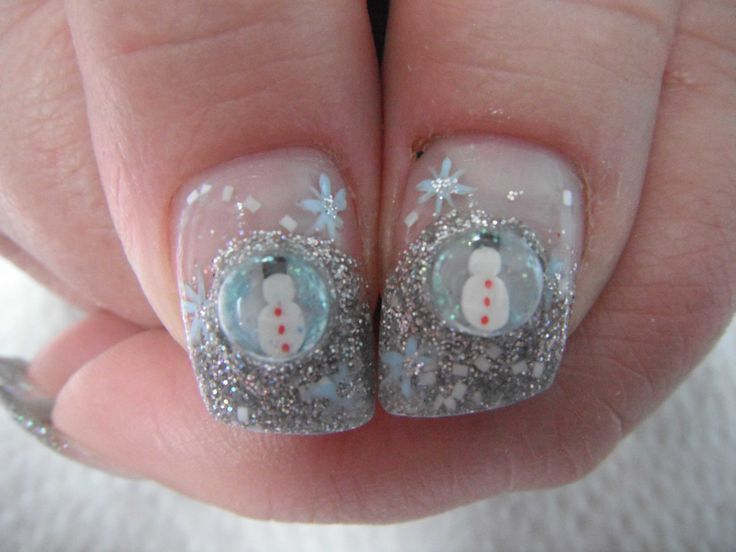 Snow Globe Nails - Winter Christmas Nail Art
