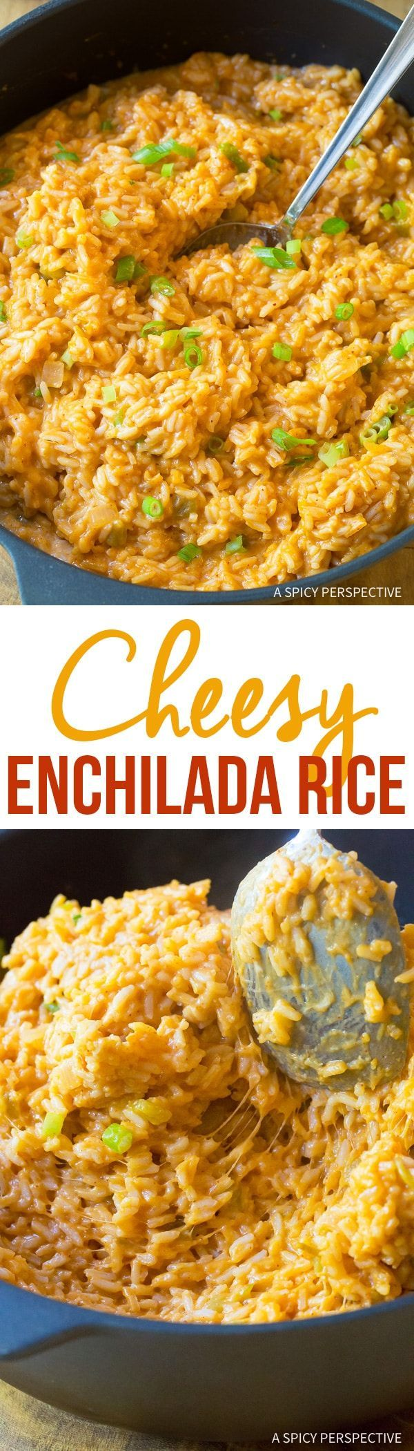 Cheesy Enchilada Rice Recipe – Creamy spicy Mexican rice similar to  risotto. This bold and fragrant rice makes a fabulous side dish for  grilled chicken, pork, or beef.