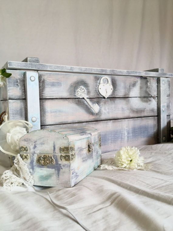 Treasure Chest: Shabby Chic Furniture, Bedroom Furniture- Blanket Box, Hope Chest, Entryway Storage Bench. Chalk Paint Distressed Wood.