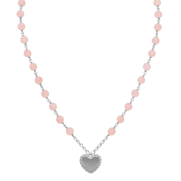 Pink quartz beads beautifully decorate this stunning necklace adding a soft pink hue to your attire. The necklace features an engravable heart measuring 5/8 inch at the base of the design. A lobster clasp secures the sterling silver necklace and an additional 2-inch chain accented by a final pink quartz bead allows for adjustability in length. Live Chat or call an online customer service representative at 1-866-467-4263, or visit one of our store locations for additional engraving questi...