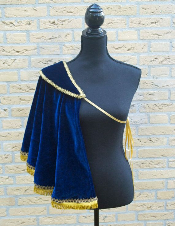 Blue Velvet Single Shoulder Half Cape by TheDaydreamDuchess on Etsy