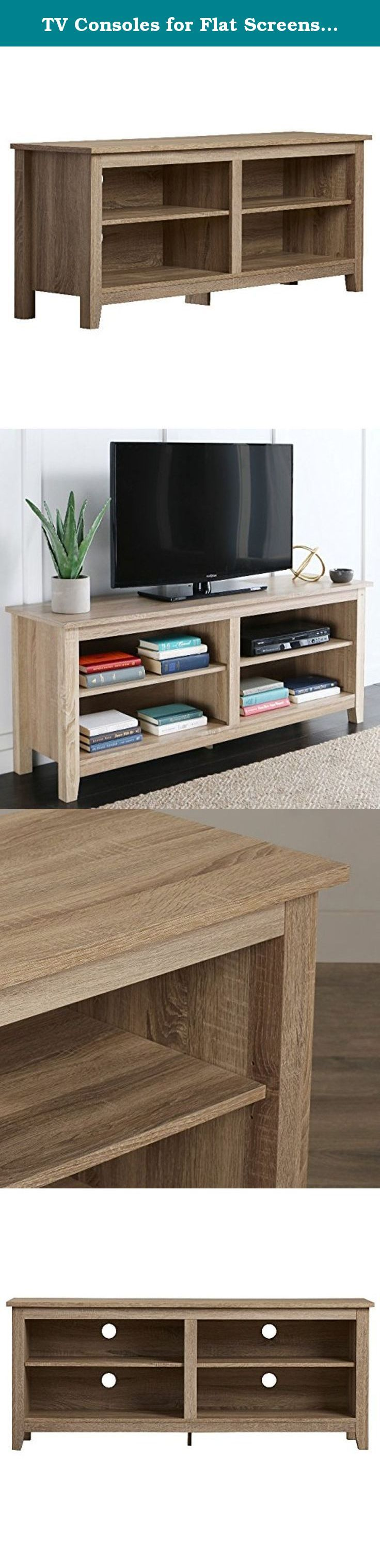 TV Consoles for Flat Screens 60 Inch Entertainment Center - Media Stand Furniture 4 Storage Shelves is Best for Flat Screen Televisions 46, 50, 55, 60 in Natural Wood Bundle w Anti-slip Accessory Pad. The TV console for flat screens 60 inch is perfect for accommodating home televisions from 46 inches up to 55 and 60, and all the media that goes with it! Complete with 4 large storage compartments for your AV components and much more! TV console furniture comes in a natural finish for a…