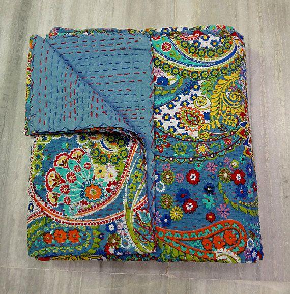 Handmade Kantha Quilt, Indian Cotton Kantha Bedspread Bedding Quilt, Queen Twin Kantha Ralli Gudri Coverlet, Blue Paisley Reversible Quilt