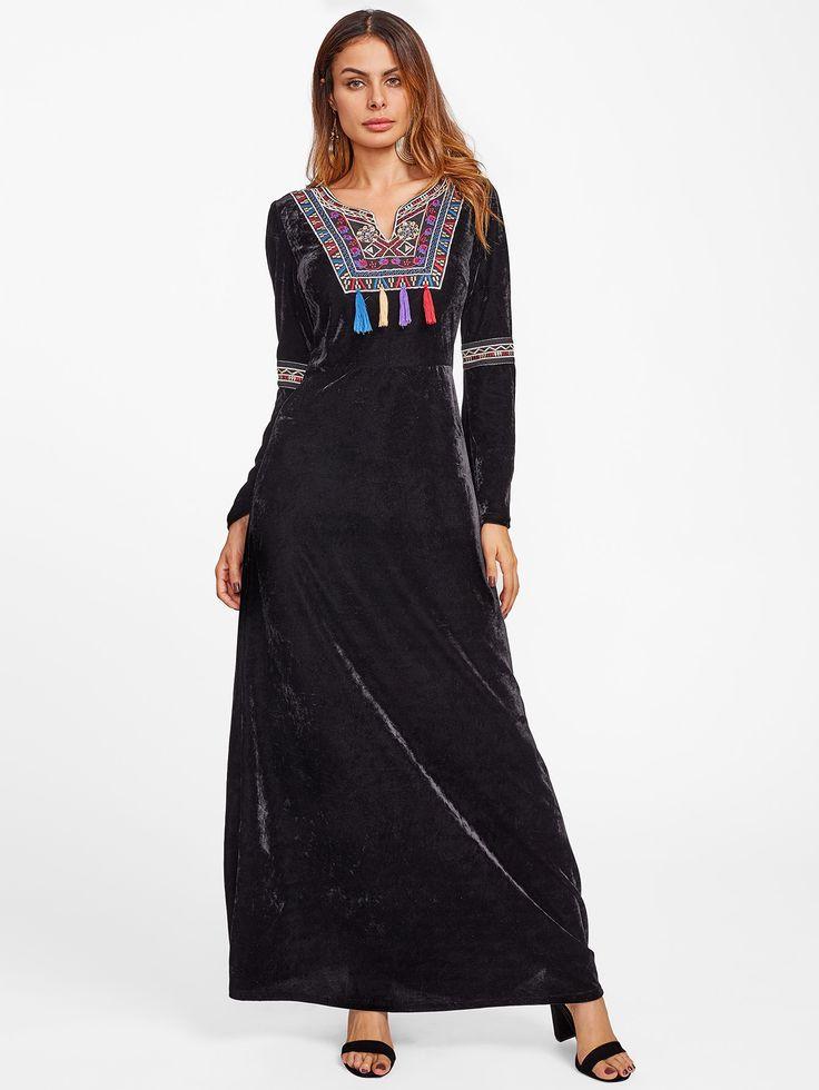 Модное бархатное платье с бахромой, рукав клёш