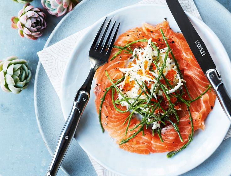 Photo of Salted salmon with gin and celery salad