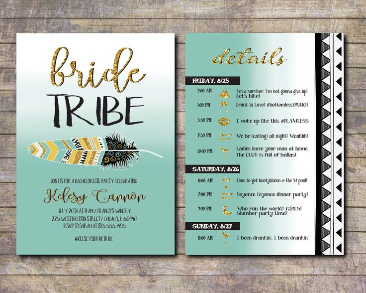 Bride Tribe, Bachelorette Party Invite, Tribal Bachelorette, Itinerary Bachelorette, Pink bachelorette invite, Vegas, Nashville bach by AWickedWhim on Etsy