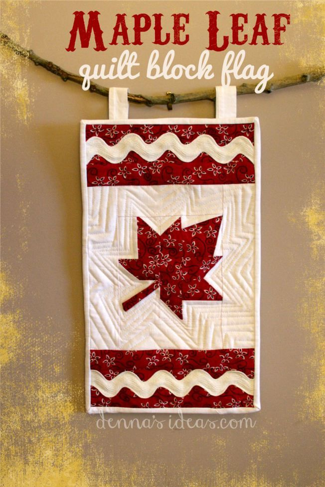 Maple Leaf Quilt Block Flag by Denna from Denna's Ideas