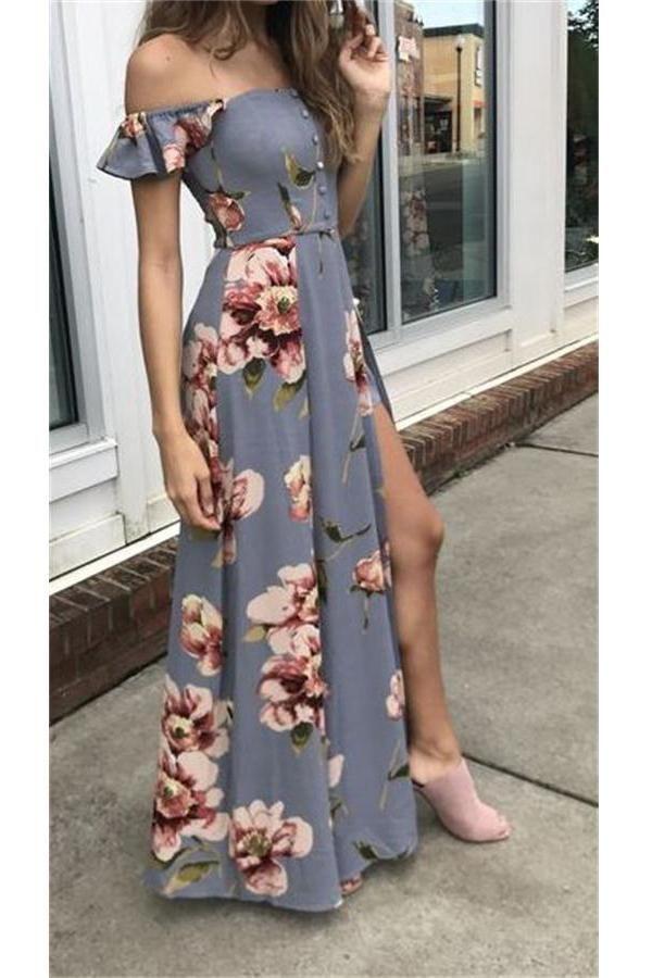 Pretty Off The Shoulder Einfache Günstige Blumenmuster Prom Dresses Z0958 – #Bl…