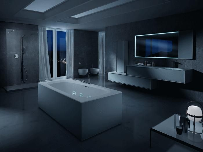 A wondeful night view of #Outline #bathtub. Beautiful the #Hydroline lights. Silent #whirlpool #Teuco