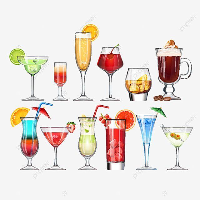 Set Stielglaser Und Glaser Mit Cocktail Cocktail Glas Wein Png Und Vektor Zum Kostenlosen Download In 2021 Stemware Cocktails Vector Beer Glassware
