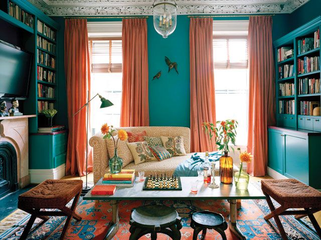 HAMILTON DESIGN ASSOCIATES: Living Rooms, Ellen Hamilton, Dollar Houses, Orange And Turquoise, Design Association, Design Directory, Turquoise Wall, Green Rooms, Hamilton Design