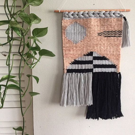 "Cynthia Weaving // Woven wall hanging// woven tapestry. Measures approximately 12"" by 18""."