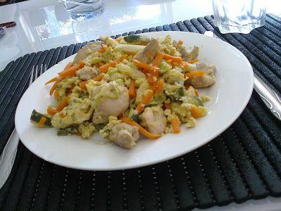 Brás de legumes com frango