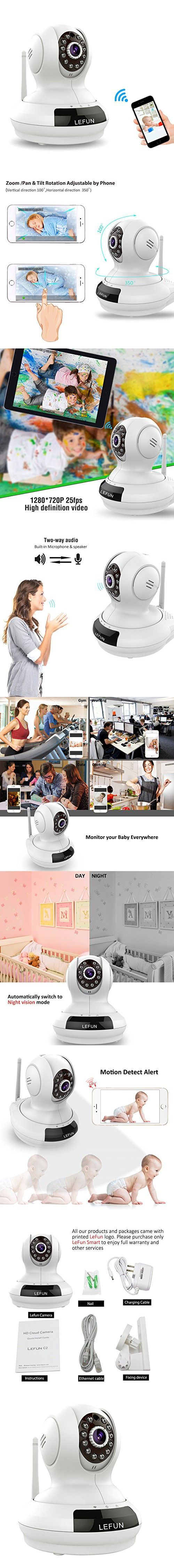LeFun Wireless Camera, Baby Monitor WiFi IP Surveillance Camera HD 720P Nanny Cam Video Recording Play/Plug Pan Tilt Remote Motion Detect Alert with Two-Way Audio and Infrared Night Vision