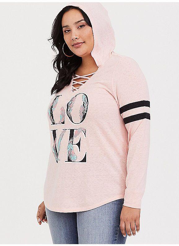 952464918a TORRID   Pink Love Football Hoodie