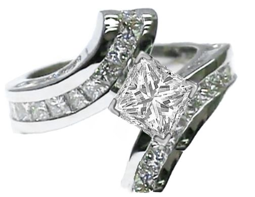 Princess Diamond Swirl Engagement Ring with baguette diamonds