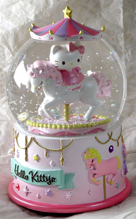 music boxes | Merry-Go-Round Musical Snow Globe Hello Kitty | hello kitty stuff