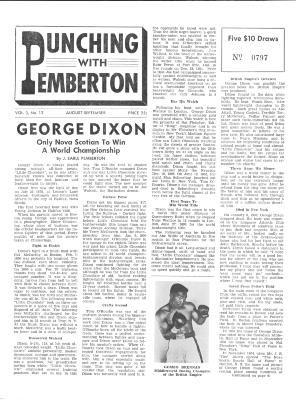 Newsletter featuring World Champion boxer George Dixon, circa 1958. Nova Scotia Sport Hall of Fame collection, Halifax