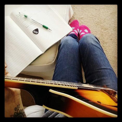 Polkadot socks on my feet and a mandolin in hand...