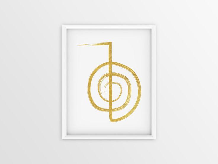Golden Reiki Cho ku rei, Reiki simbolo, Reiki Poster, Reiki dibujo, Lámina de Reiki, Lámina Cho ku rei, Lámina imprimible, Color oro de JuanmiIllustrations en Etsy
