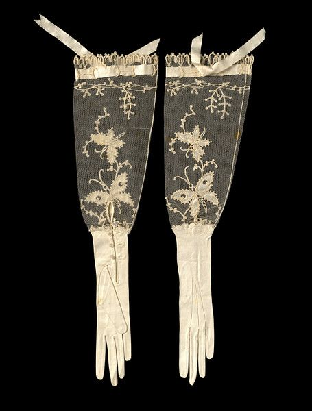 Late 19th Century kid leather and net evening gloves decorated with butterflies.
