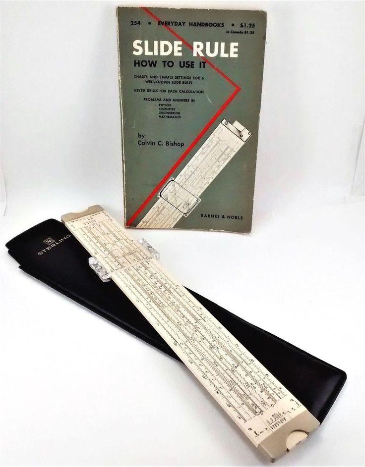 Sterling SLIDE RULE 1965 Decimal Trig Log w/ Case + How to Use Book: Bishop 1955 #Sterling #SlideRule