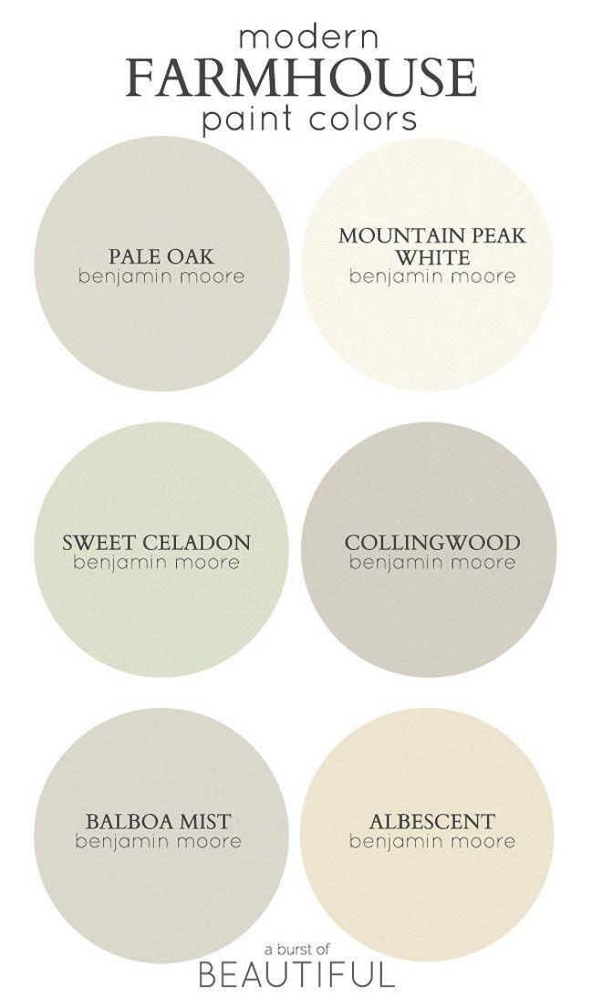 Modern Farmhouse Color Palette. Best paint colors for modern Farmhouse. Via A Burst of Beautiful.
