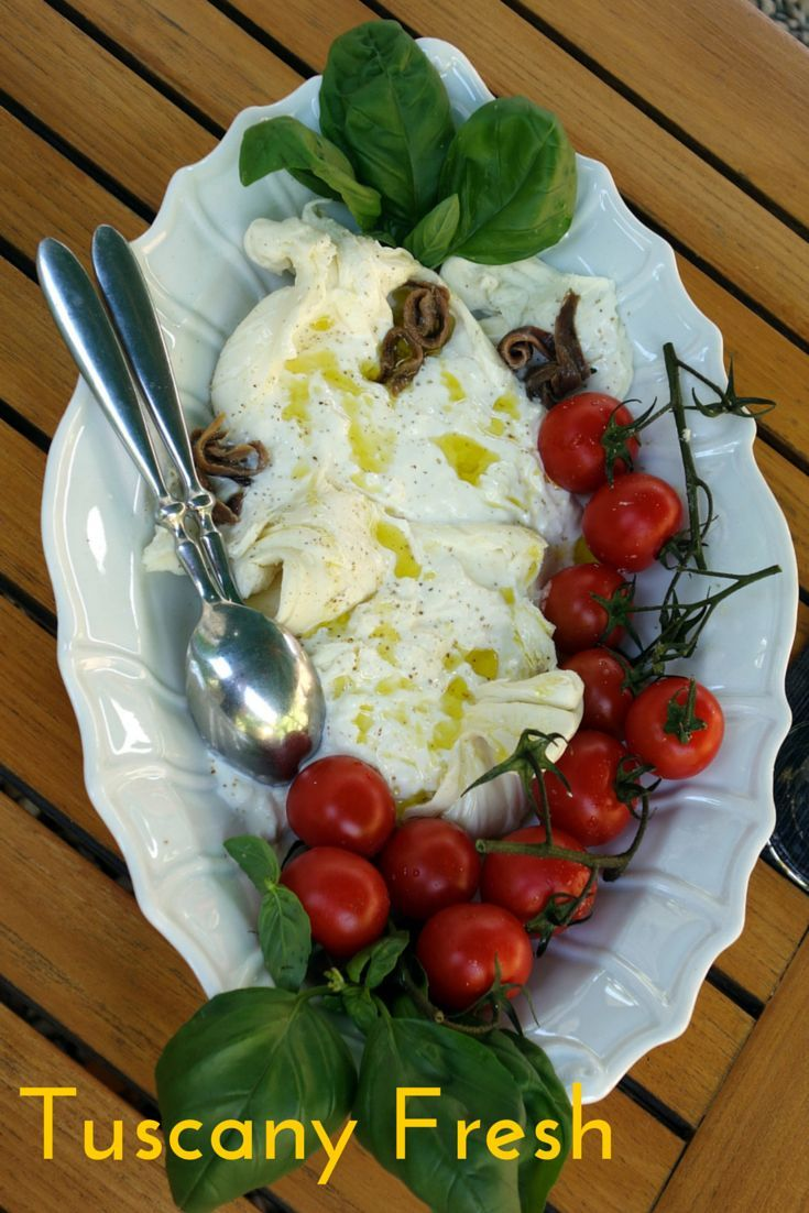 Burrata, anchovies, and tomatoes -- delicious! Experiencing the fresh essence of Tuscany at a market, enoteca, olive mill, and gelateria while visiting La Fattoria, a beautifully restored 17th century farmhouse.