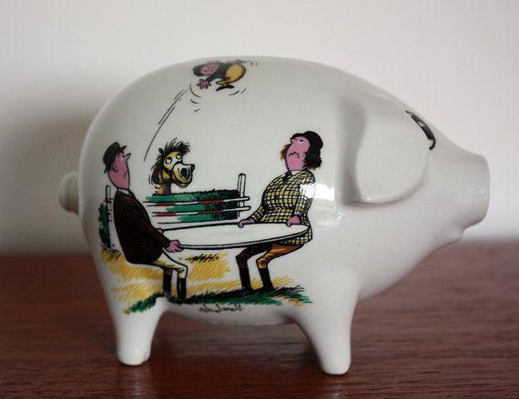 Surrey Ceramics Norman Thelwell Piggy Bank by janestangerinehouse