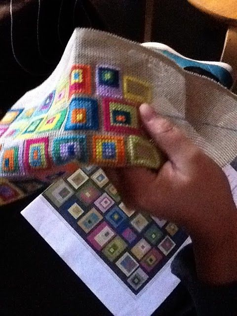 Scrap buster for cross stitch or needlepoint -- do up a rough colored drawing and start stitching!