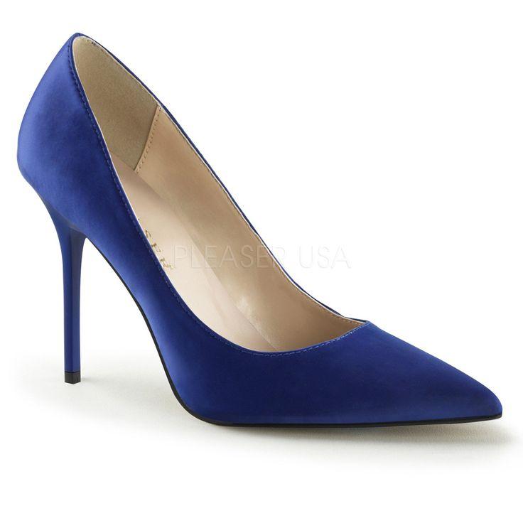 Pleaser CLASSIQUE-20 Royal Blue Satin Pointed-Toe Pumps