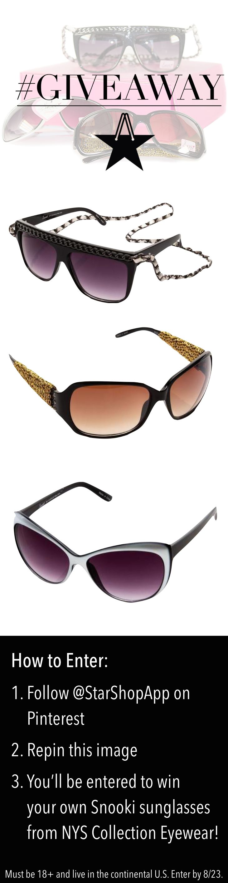 Shopping for stylish shades?! Enter to #WIN 3 pairs of Snooki #sunglasses