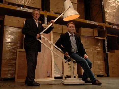 Dahl light: John Terry with his son Simon and the 'Giant 1227' Anglepoise