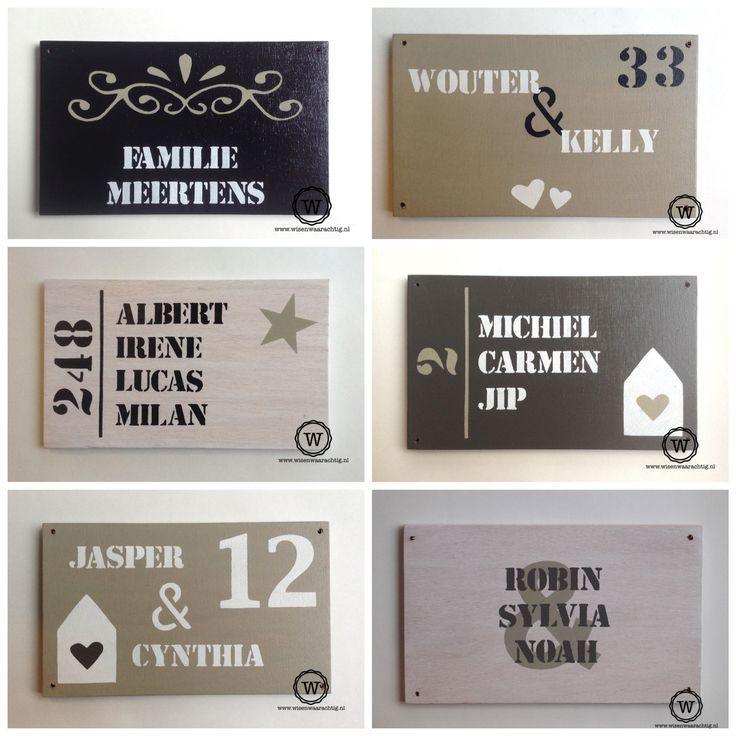 Unieke naamborden voor bij de voordeur vind je natuurlijk bij Wis en Waarachtig. #naambord #voordeur #eigenontwerp