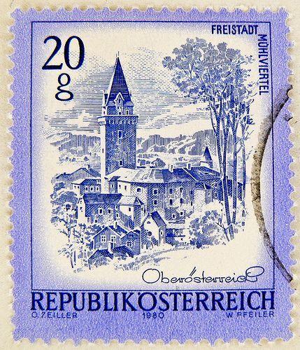 beautiful stamp Austria 20g Groschen 0.20 Schilling Freistadt Mühlviertel Oberösterreich 1980 purple timbres Autriche postzegel Österreich Briefmarke postzegel Oostenrijk طوابع النمسا frimærker østrig markica Austrija टिकटों ऑस्ट्रिया francobollo Austria