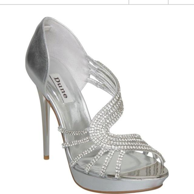 Silver 'Hearty' swirl diamante sandal by Dune