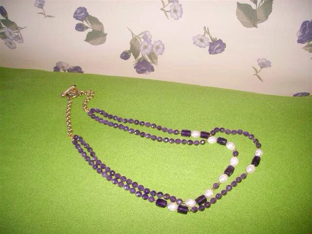 Una mia collana di ametista e perle