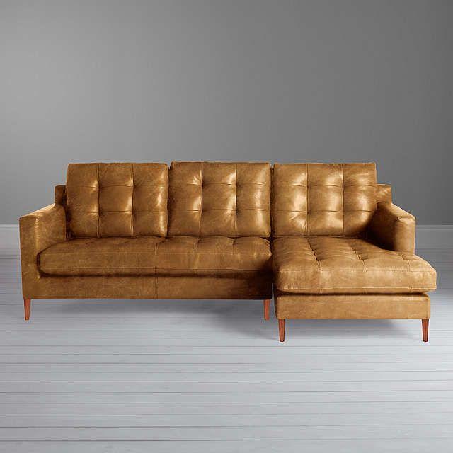 John Lewis Partners Draper Leather Rhf Chaise End Sofa Dark Leg Contempo Black