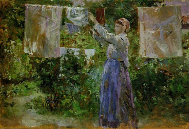 Berthe Morisot: Camponesa estendendo a roupa lavada.