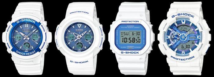 G-Shock White and Light Blue Series  AWG-M100SWB-7AJF AWG-M510SWB-7AJF DW-5600WB-7JF GA-110WB-7AJF