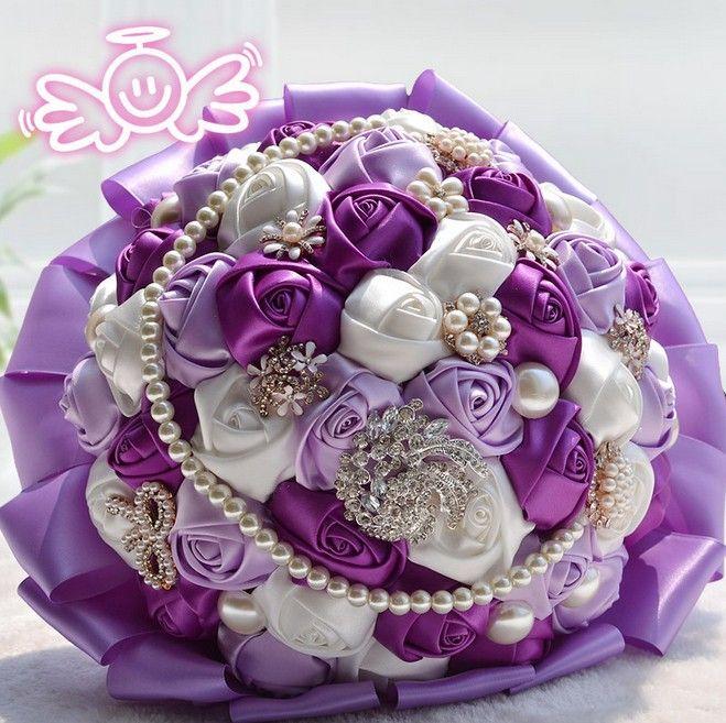 2014 Artifical Pearl beaded rhinestone Brooch Silk Rose Flower Bridal wedding bouquet,lace beaded handle wedding bouquet W180-in Wedding Bou...